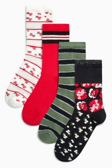 Mesh Floral Stripe Ankle Socks Four Pack