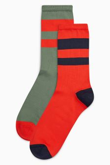 Sporty Stripe Ankle Socks Two Pack