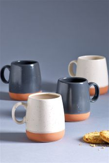 Set Of 4 Speckled Mugs
