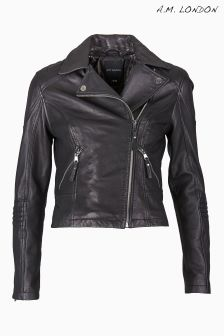 A.M. London Black Leather Biker Jacket