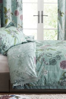 Cotton Wild Hedgerow Teal Bed Set
