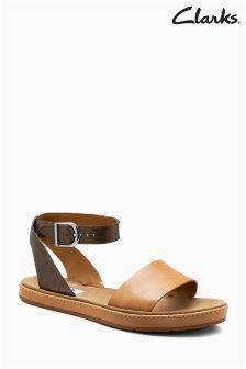 Clarks Tan Combi Leather Romantic Moon Ankle Strap Sandal