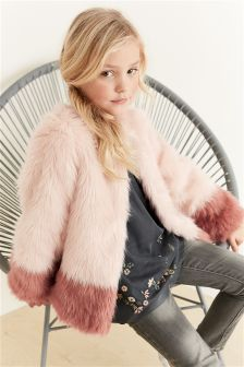 Dipped Faux Fur Coat (3-16yrs)