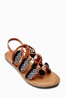 Pom Pom Sandals (Older Girls)