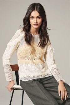 Mixed Lace Long Sleeve Top