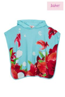 Baker By Ted Baker Blue Fish And Floral Poncho
