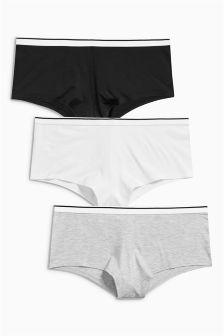 Black/Grey/White Sporty Shorts Three Pack