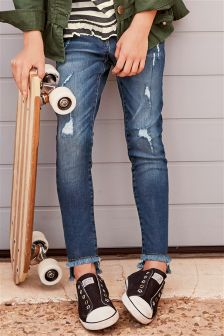 Stepped Hem Distressed Jeans (3-16yrs)
