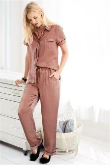 Piped Satin Pyjamas