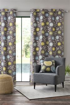 Retro Floral Eyelet Curtains