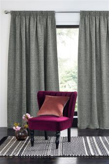 Silver Textured Chenille Multi Header Lined Curtains