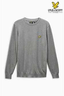 Lyle & Scott Grey Cotton Merino Jumper