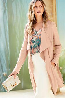 Peach Longline Belted Jacket