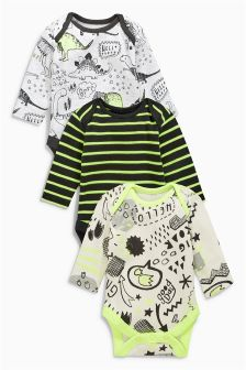 Fluro Dinosaur Long Sleeve Bodysuits Three Pack (0mths-2yrs)