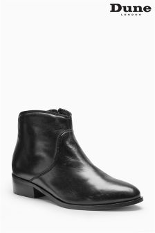 Dune Black Leather Pearcey Zip Ankle Boot