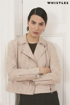 Whistles Nude Agnes Suede Jacket