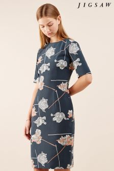 Jigsaw Green Dancing Tulip Fitted Dress