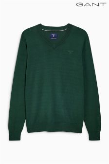 Gant Green V- Neck Knit Jumper