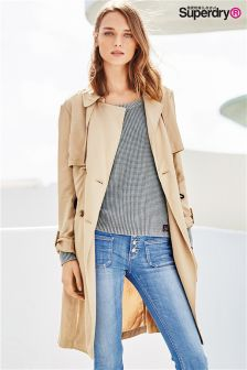 Buy Women's coats and jackets Superdry Cream Mac/Trench from the ...