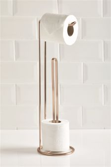 Brass Toilet Roll Stand & Store