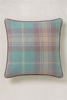Teal Stirling Woven Check Cushion