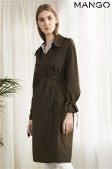 Mango Khaki Lightweight Belted Trench Coat