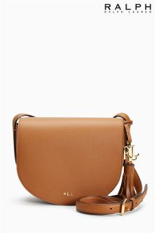 Ralph Lauren Tan Dryden Caley Mini Saddle Leather Bag