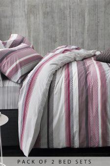 2 Pack Lunar Stripe Bed Set