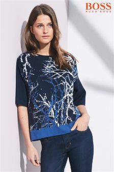 Boss Orange Dark Blue Izana Print Jumper