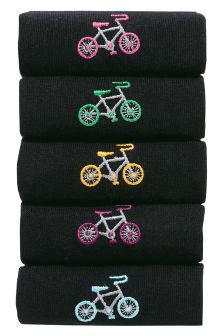 Black Cycle Embroidery Socks Five Pack