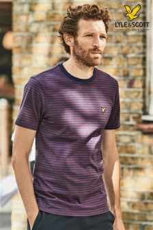 Lyle & Scott Navy Mouline Stripe T-Shirt