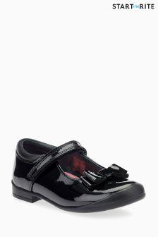 Start-Rite Black Patent Pussycat Bow Shoe