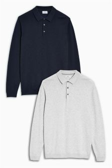 Long Sleeve Polos Two Pack