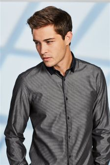 Textured Regular Fit Contrast Collar Shirt