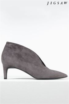 Jigsaw Grey Cut Out Heeled Shoe Boot