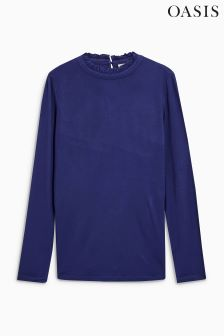Oasis Blue Piecrust Turtle Neck