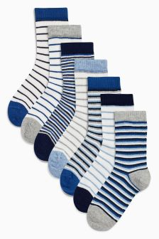 Blue Stripe Socks Seven Pack (Younger Boys)