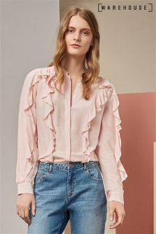 Warehouse Pink Ruffle Blouse