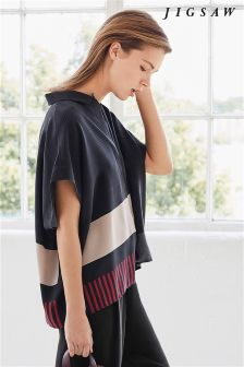 Jigsaw Midnight Grey Block Stripe Blouse