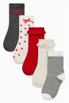 Fashionably Cute Socks Five Pack (Older Girls)