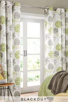 green floral blackout eyelet curtains