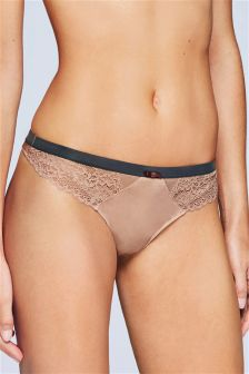 Lace And Microfibre Thong