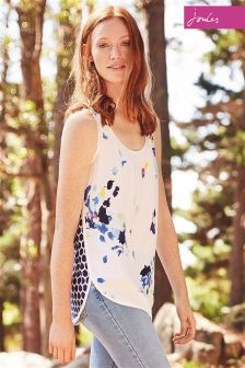 Joules Iris Bright White Flo Sleeveless Woven Mix Top
