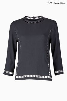 A.M. London Black Lace Detail Blouse