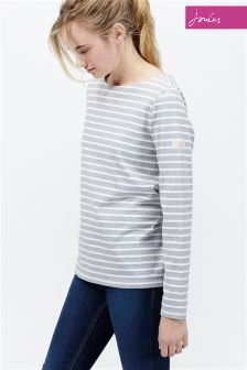 Joules Grey Stripe Harbour Jersey Top