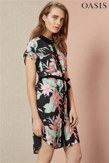 Black Oasis Tropical Fancy Shirt Dress