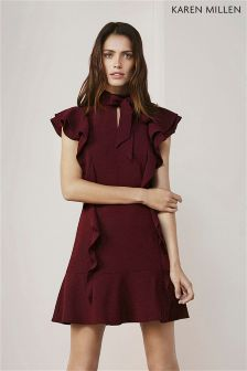 Karen Millen Burgundy Ruffle Dress