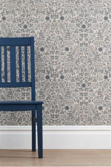 Blue Creswell Floral Wallpaper