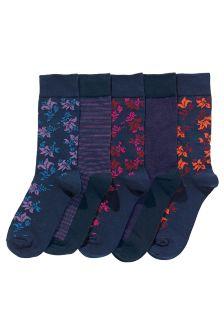 Multi Flower Socks Five Pack