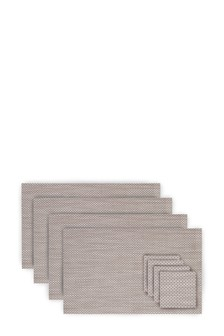 Set Of 8 Natural Plastic Weave Mat And Coaster Set